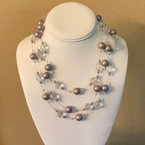 NWOT..CEZANNE Czech faceted glass & pearl necklace